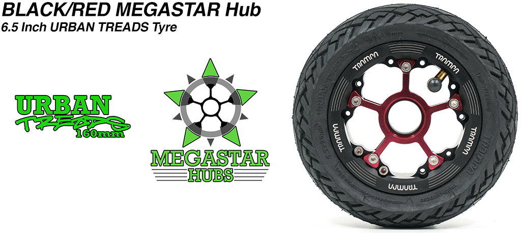 BLACK MEGASTAR Rims with RED Spokes & the amazing Low Profile 6.5 Inch URBAN Treads Tyres