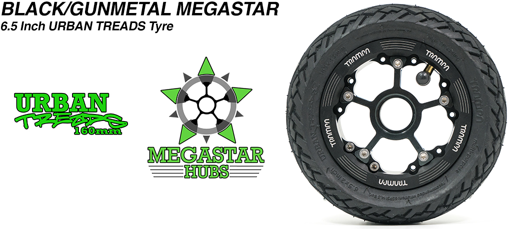BLACK MEGASTAR Rims with GUNMETAL Spokes & the amazing Low Profile 6.5 Inch URBAN Treads Tyres