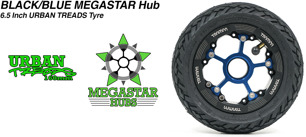 BLACK MEGASTAR Rims with BLUE Spokes & the amazing Low Profile 6.5 Inch URBAN Treads Tyres