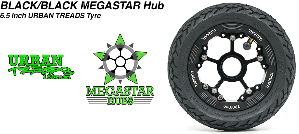 BLACK MEGASTAR Rims with BLACK Spokes & the amazing Low Profile 6.5 Inch URBAN Treads Tyres