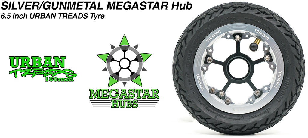 SILVER MEGASTAR Rims with GUNMETAL Spokes & the amazing Low Profile 6.5 Inch URBAN Treads Tyres
