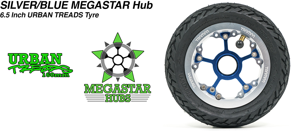 SILVER MEGASTAR Rims with BLUE Spokes & the amazing Low Profile 6.5 Inch URBAN Treads Tyres