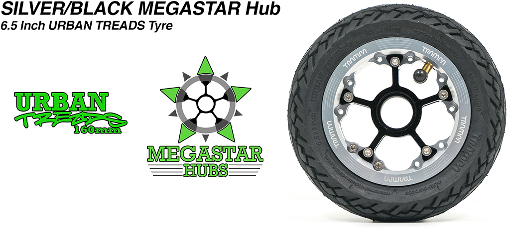 SILVER MEGASTAR Rims with BLACK Spokes & the amazing Low Profile 6.5 Inch URBAN Treads Tyres