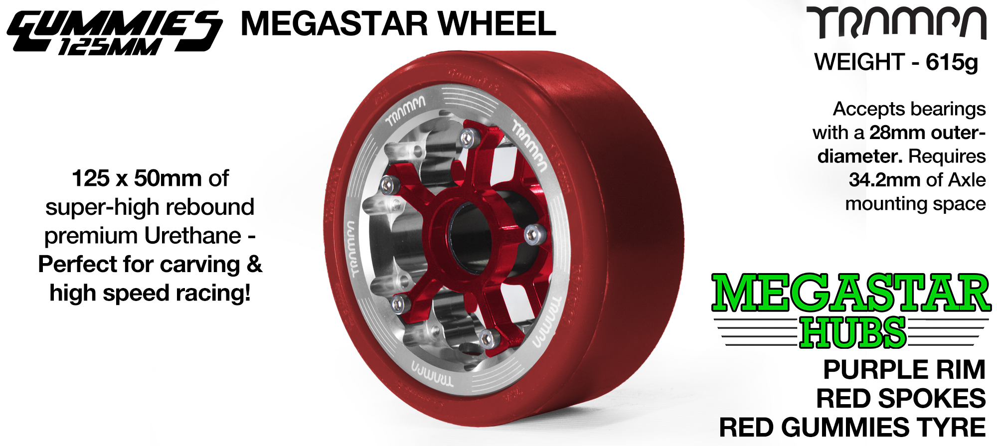 POLISHED MEGASTAR Rim with RED Spokes & RED Gummies - The Ulrimate Longboard Wheel