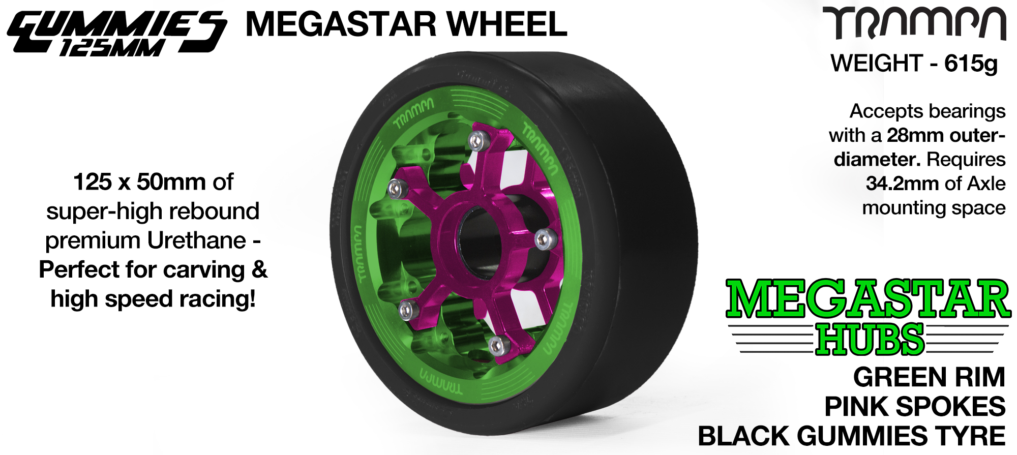 Matt BLACK MEGASTAR Rim with BLUE Spokes & BLACK Gummies - The Ulrimate Longboard Wheel