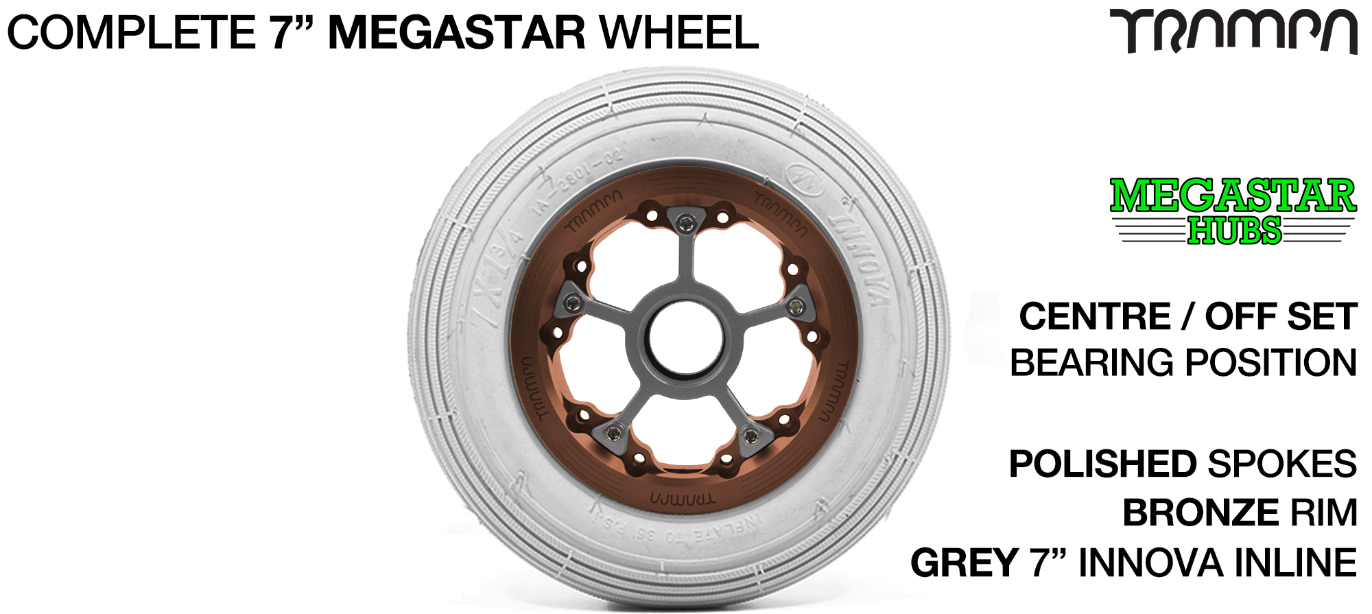 BRONZE MEGASTAR Rims with POLISHED Spokes & 7 Inch Tyres