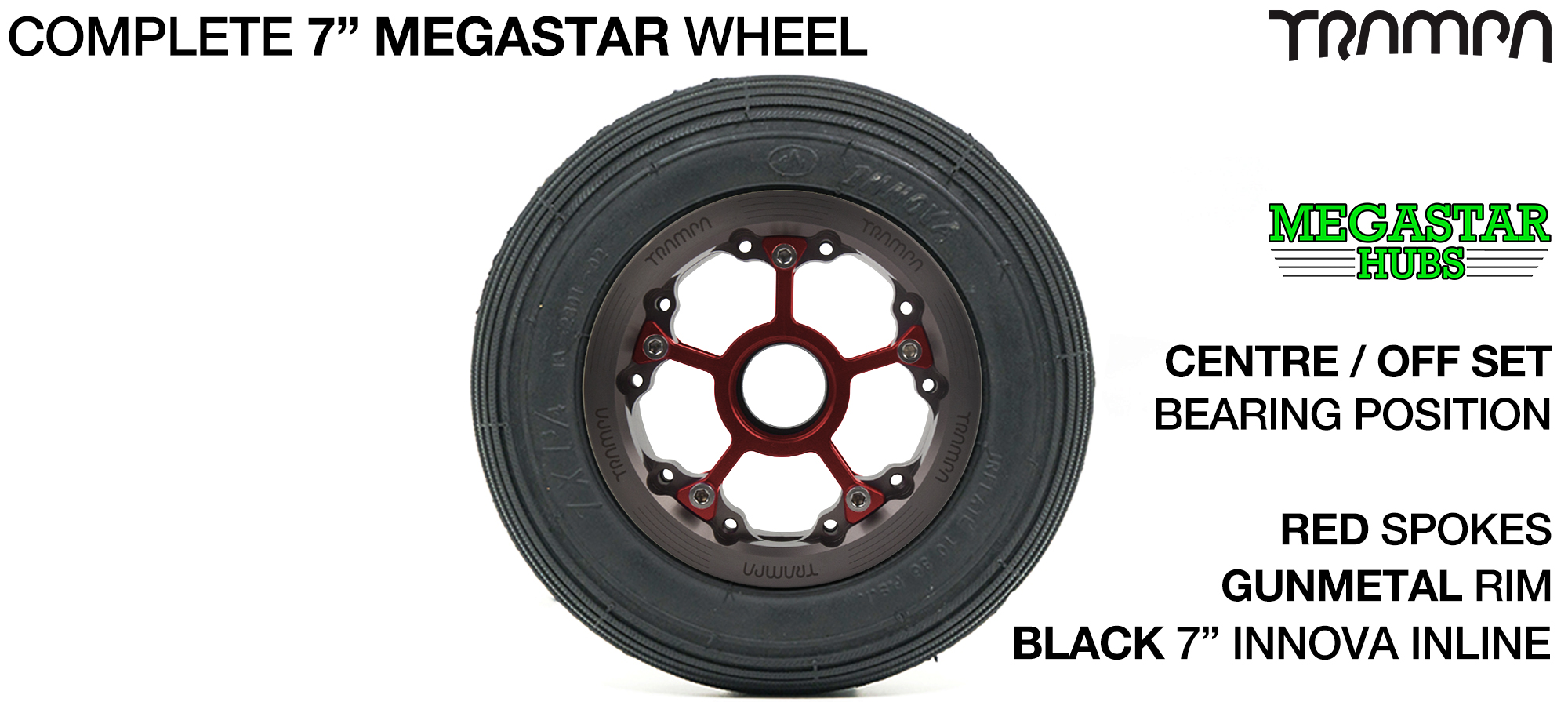 GUNMETAL MEGASTAR Rims with RED Spokes & 7 Inch Tyres