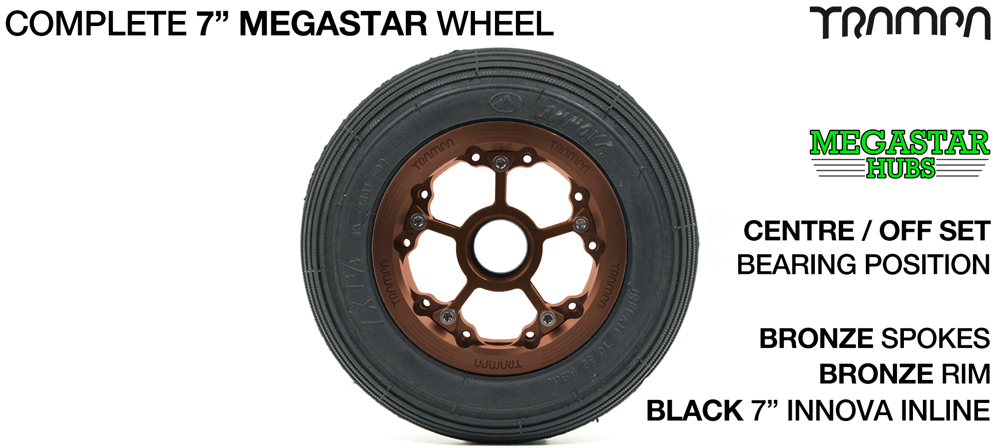 BLACK MEGASTAR Rims with RED Spokes & 7 Inch Tyres