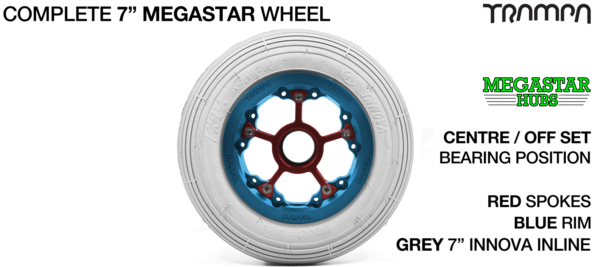 BLUE MEGASTAR Rims with RED Spokes & 7 Inch Tyres
