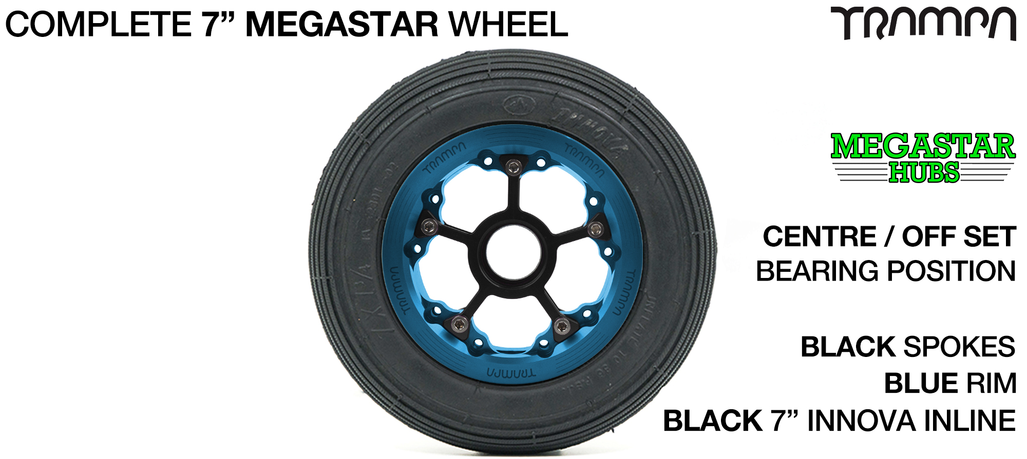 BLUE MEGASTAR Rims with BLACK Spokes 7 Inch Tyres