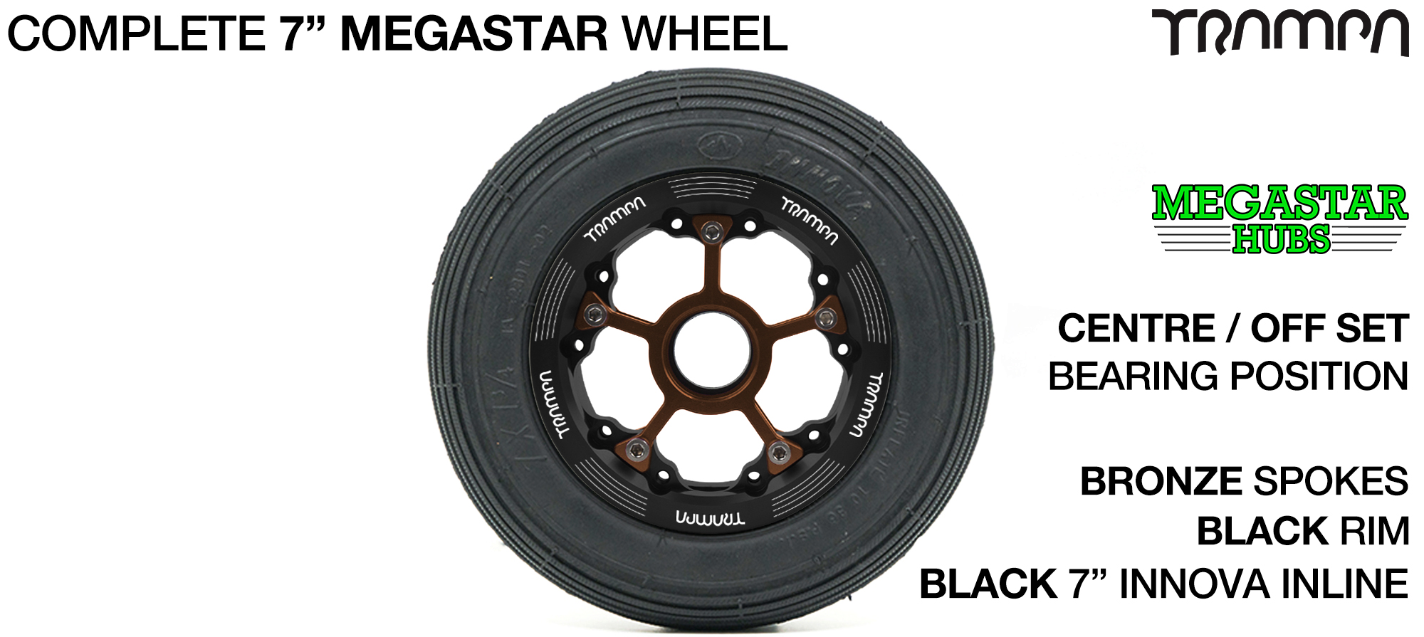 BLACK MEGASTAR Rims with BRONZE Spokes & 7 Inch Tyres