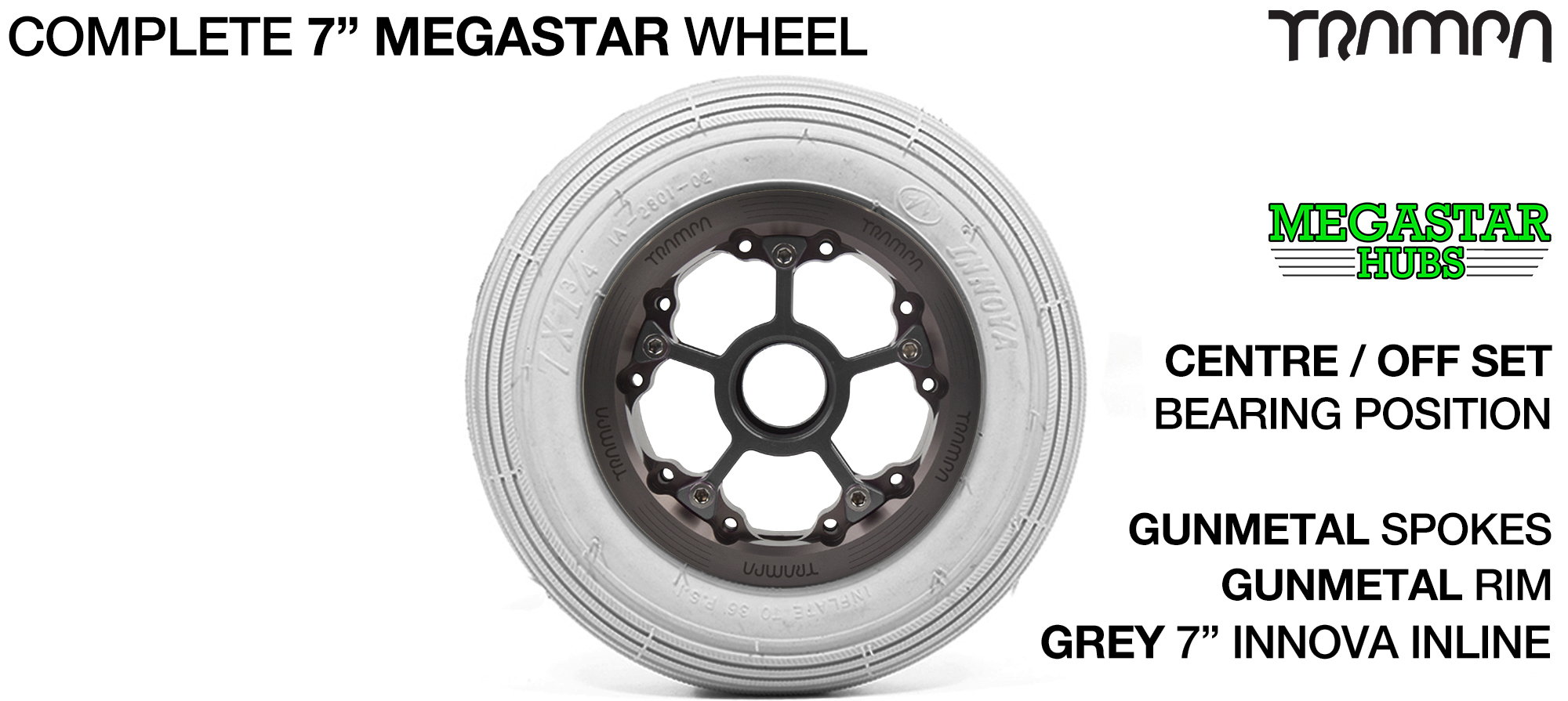 SILVER MEGASTAR Rims with RED Spokes & 7 Inch Tyres