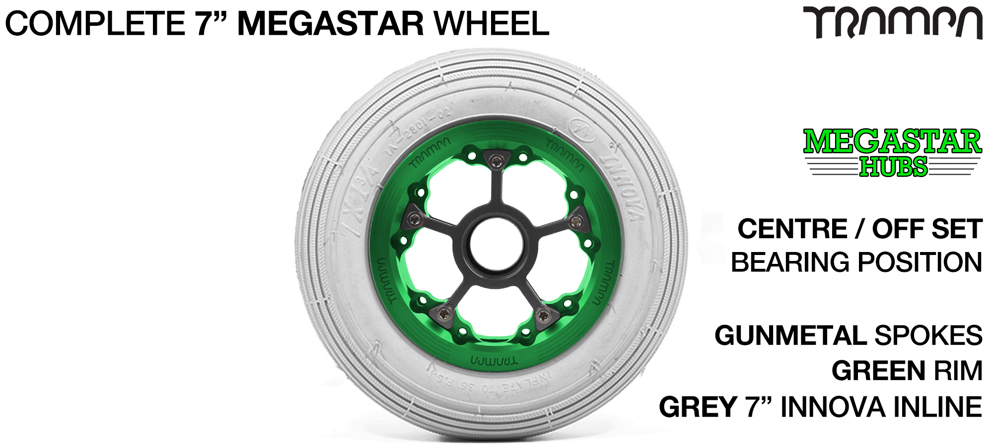 GREEN MEGASTAR Rims with GUNMETAL Spokes & 7 Inch Tyres