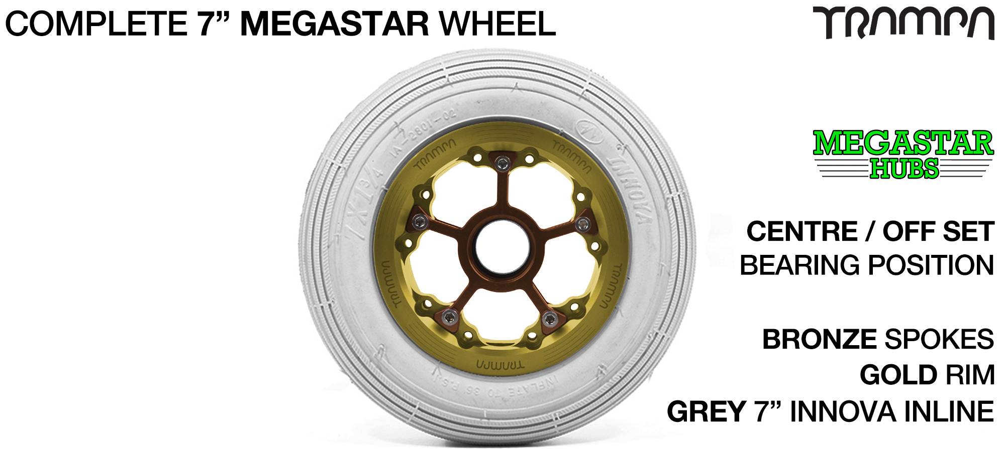 GOLD MEGASTAR Rims with BRONZE Spokes & 7 Inch Tyres