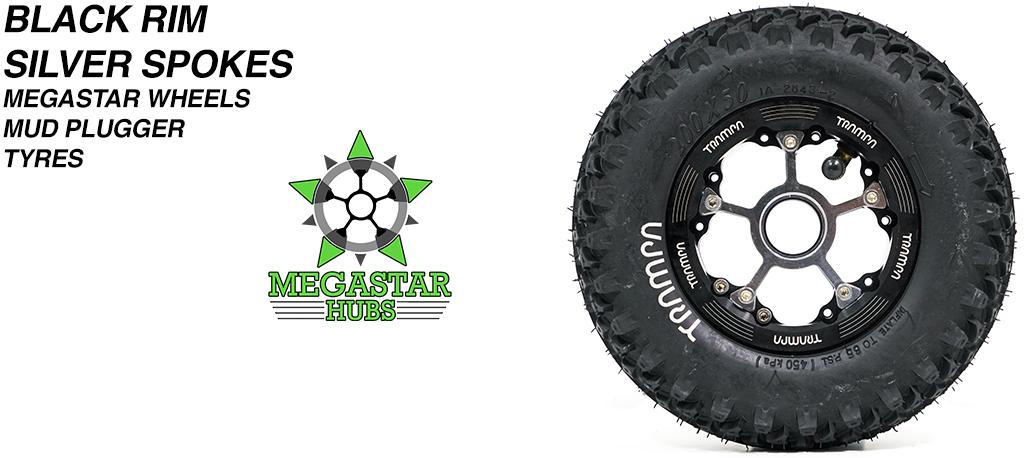 BLACK MEGASTAR Rims with SILVER Spokes & 8 Inch BLACK MUDPLUGGER Tyres