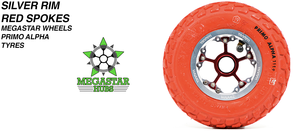 SILVER MEGASTAR Rims with RED Spokes & 8 Inch RED ALPHA Tyres