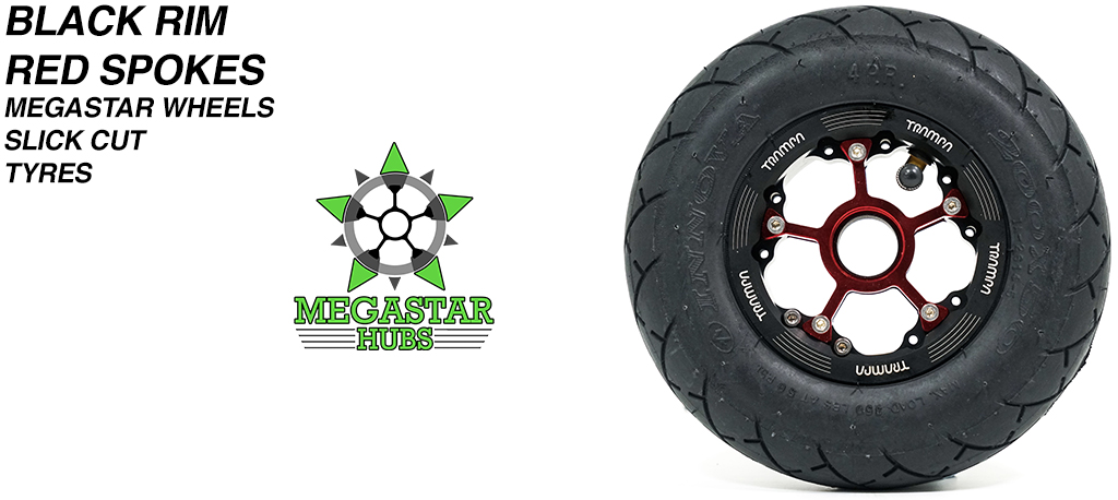 BLACK MEGASTAR Rims with RED Spokes & 8 Inch BLACK SLICK CUT Tyres