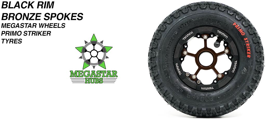 BLACK MEGASTAR Rims with BRONZE Spokes 8 Inch BLACK STRIKER Tyres