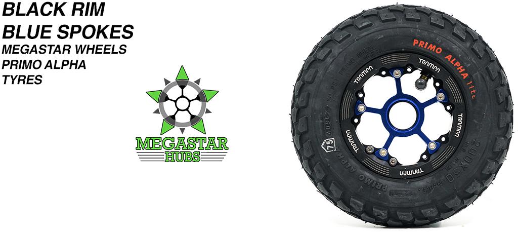 BLACK MEGASTAR Rims with BLUE Spokes & 8 Inch BLACK ALPHA Tyres