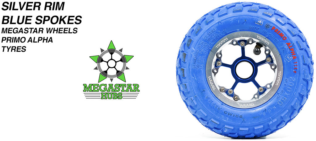 SILVER MEGASTAR Rims with BLUE Spokes & 8 Inch BLUE ALPHA Tyres