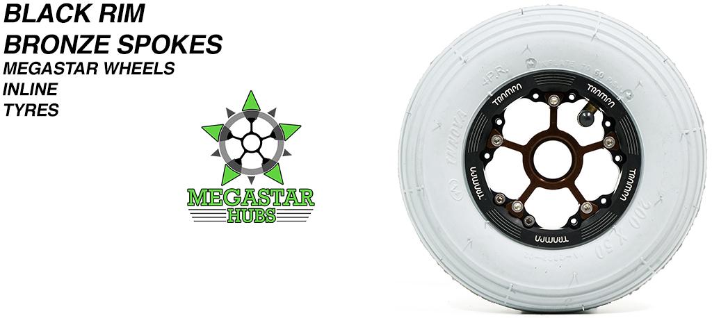 BLACK MEGASTAR Rims with BRONZE Spokes 8 Inch GREY INLINE Tyres