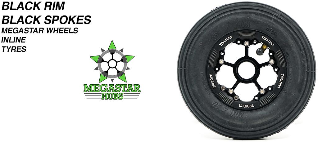 BLACK MEGASTAR Rims with BLACK Spokes & 8 Inch BLACK INLINE Tyres