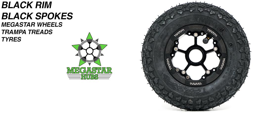 BLACK MEGASTAR Rims with BLACK Spokes & 8 Inch TRAMPA TREADS Tyres