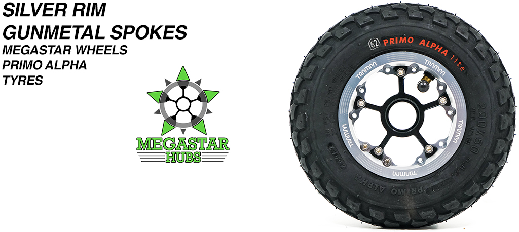 SILVER MEGASTAR Rims with GUNMETAL Spokes & 8 Inch BLACK ALPHA Tyres