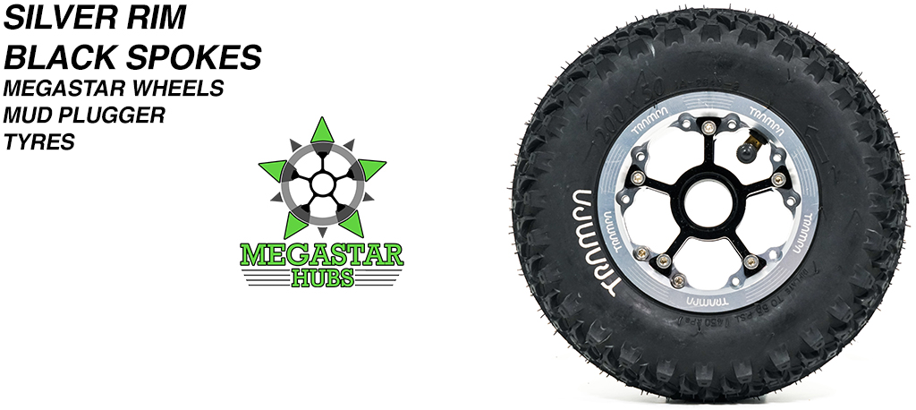 SILVER MEGASTAR Rims with BLACK Spokes & 8 Inch BLACK MUDPLUGGER Tyres