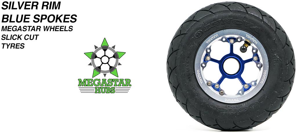 SILVER MEGASTAR Rims with BLUE Spokes & 8 Inch BLACK SLICK CUT Tyres
