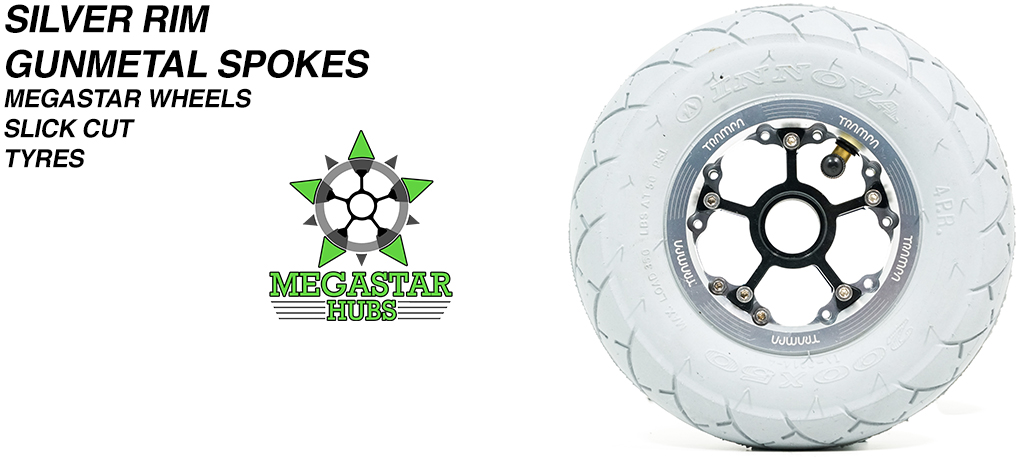SILVER MEGASTAR Rims with GUNMETAL Spokes & 8 Inch GREY SLICK CUT Tyres