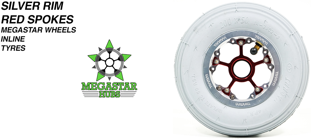 SILVER MEGASTAR Rims with RED Spokes 8 Inch GREY INLINE Tyres