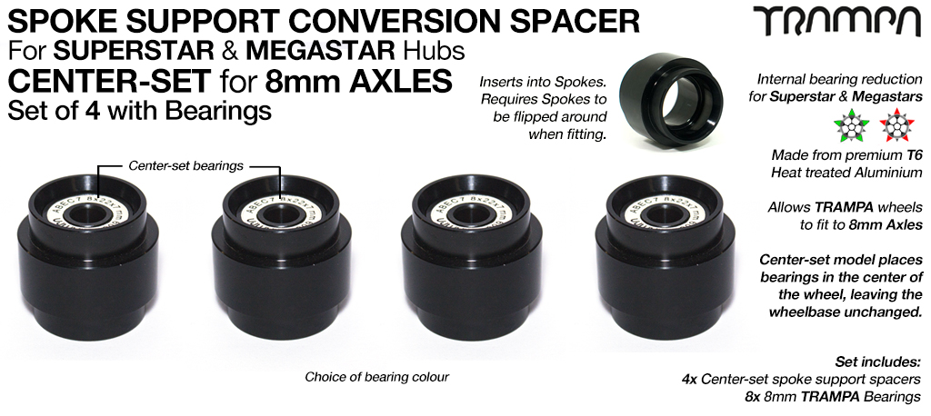 CENTRE Set Spoke Support Bearing Conversion Spacers with Bearings Kit - Fits SUPERSTAR & MEGASTAR Wheels to 8mm Axles such as Evolve, Enertion, Boosted & Pretty much an 8mm Longboard truck on the planet!!