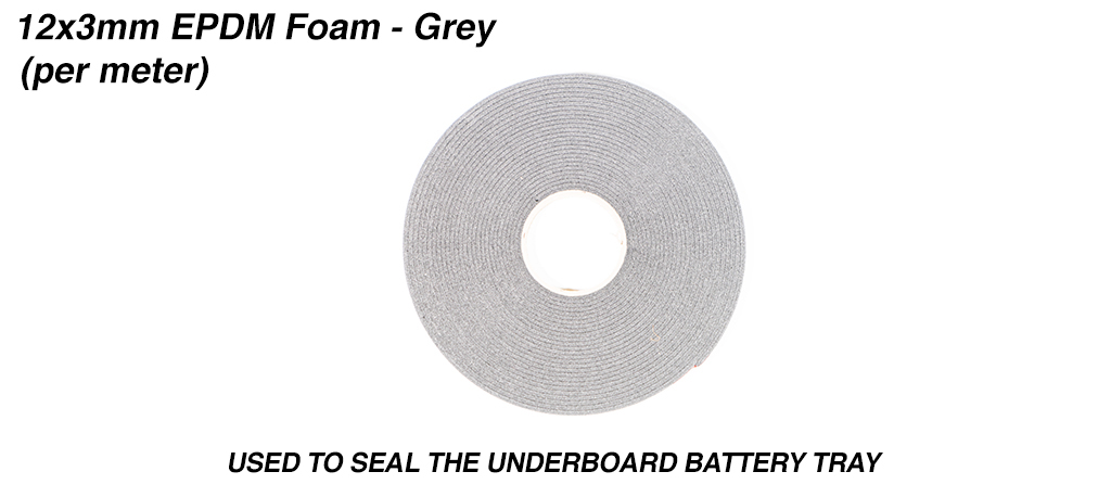 12x5mm HSF Foam Used to seal the Under Board Battery Tray & priced per meter - Grey