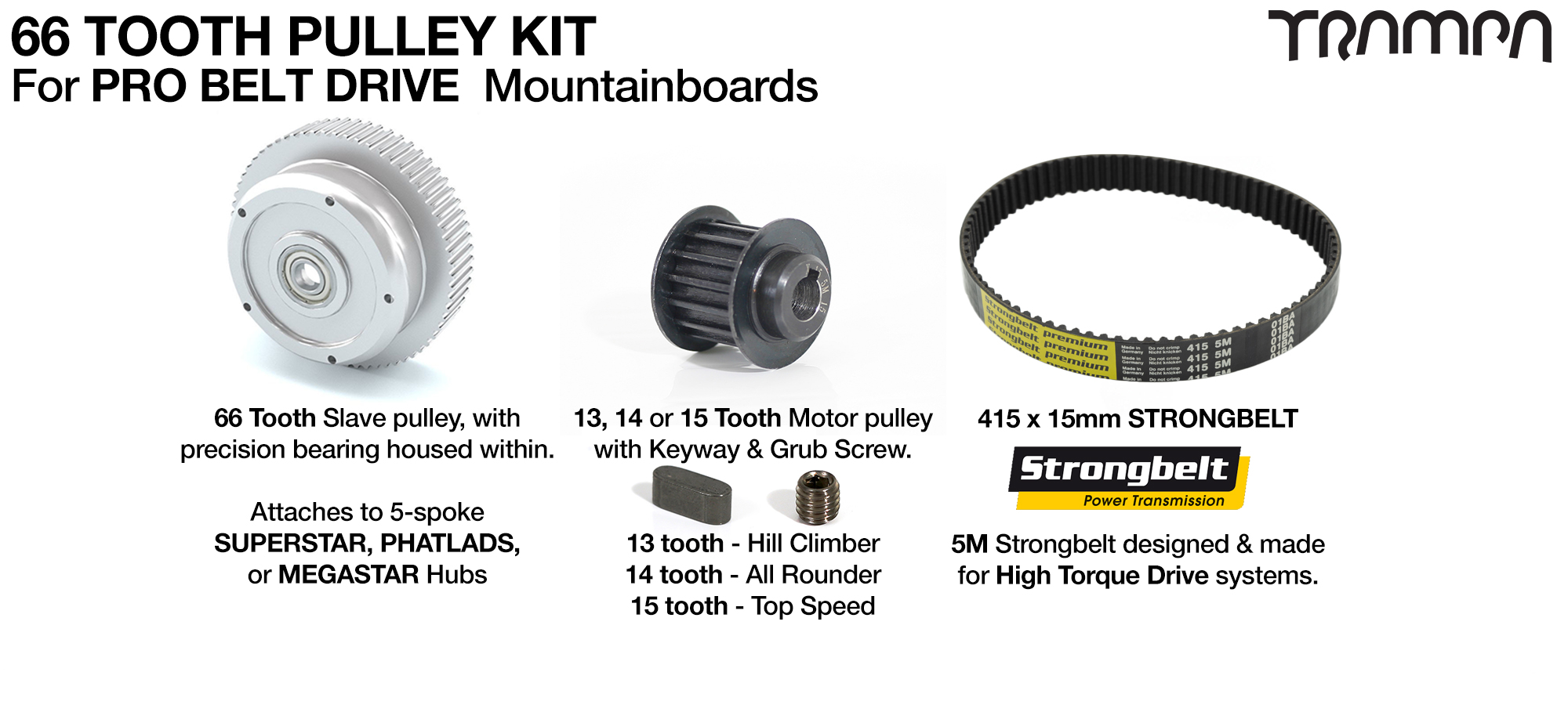 PRO BELT DRIVE complete Pulley Kit with 66 Tooth Slave & 460 x 16mm belt with Slave Pulleys & Small Parts - Fits all of TRAMPA's 5 Spoke Wheels
