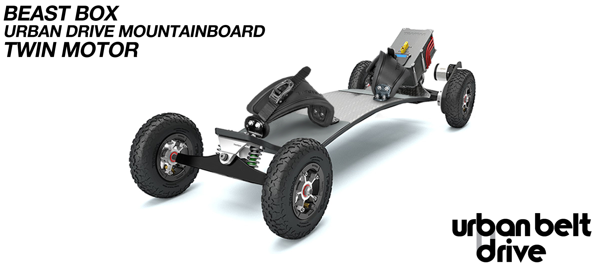 URBAN Electric Mountainboard - Urban Motor Mounts on Custom TRAMPA deck ATB Trucks 8 inch Wheels BEAST Box TWIN Motor with VESC