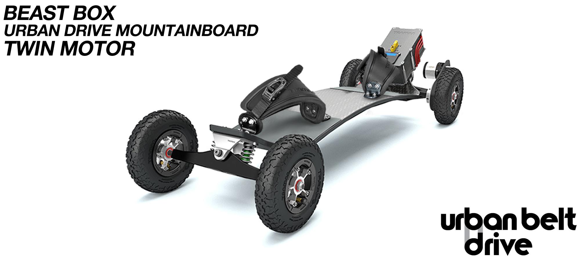 URBAN Electric Mountainboard - Urban Motor Mounts on Custom TRAMPA deck ATB Trucks 8 inch Wheels BEAST Box TWIN Motor with VESC
