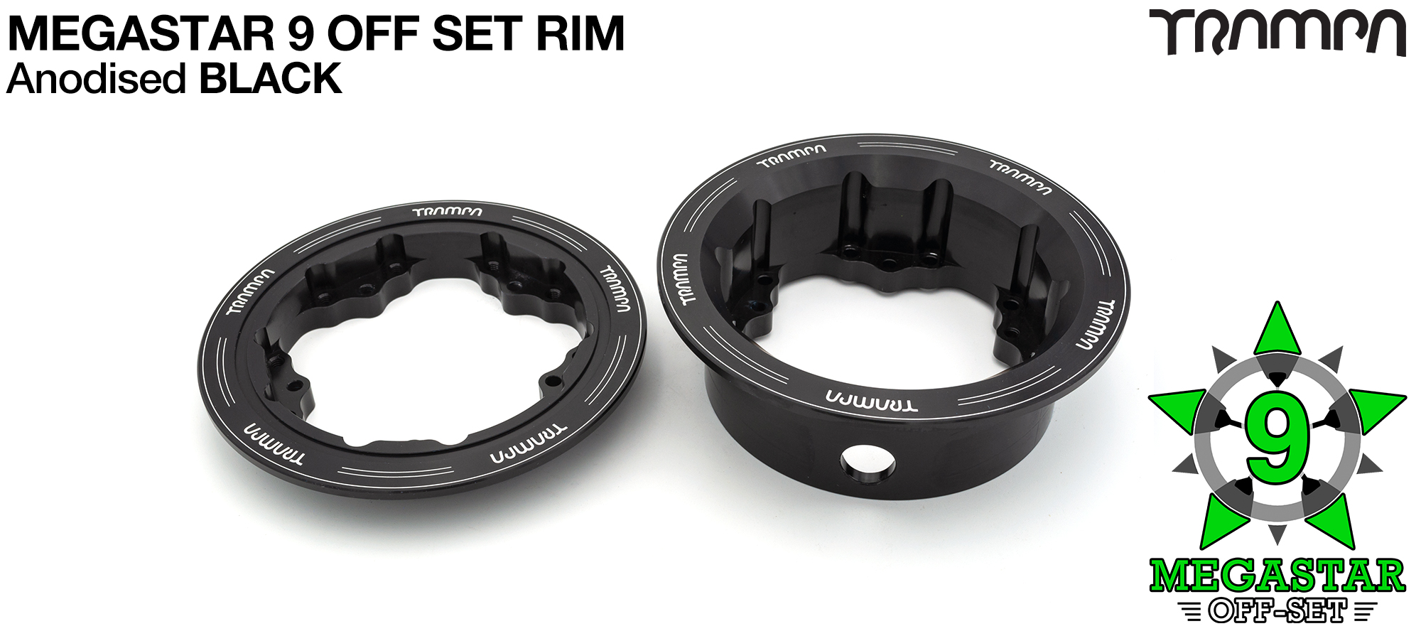 BLACK 9 Inch Deep-Dish MEGASTAR rims  - OUT OF STOCK