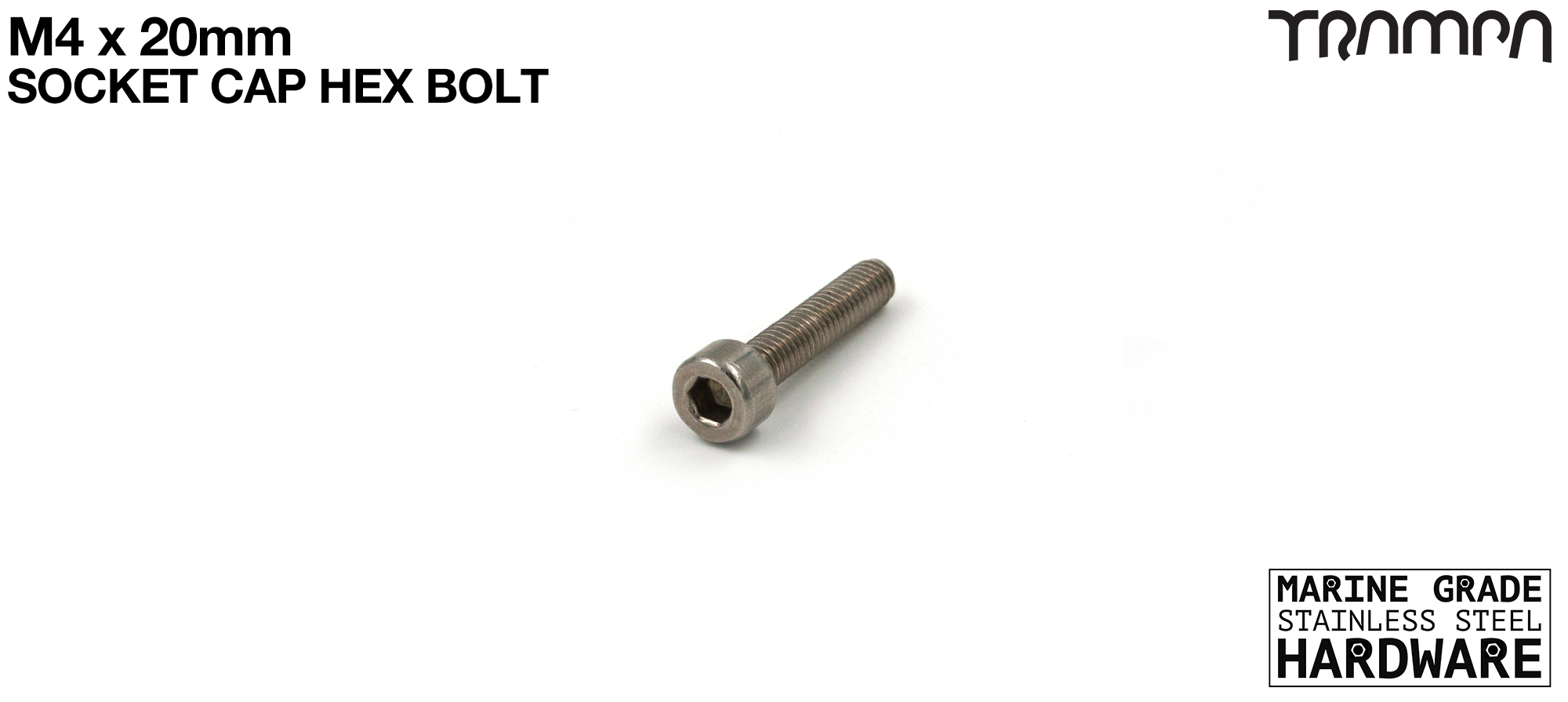 M4 x 20mm Socket Capped Head Bolt ISO 4762 Marine Grade Stainless Steel