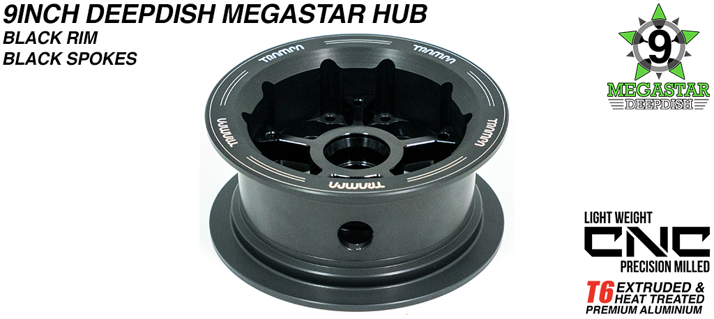 9 Inch MEGASTAR Hub - 2 Part Offset with Black Rim & Black Spokes, fits with all of TRAMPA's different 9 Inch Tyres