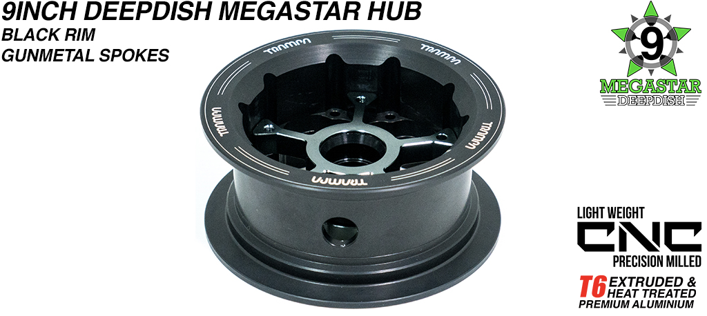 9 Inch MEGASTAR Hub - 2 Part Offset with Black Rim with Gunmetal Spokes fits with all of TRAMPA's different 9 Inch Tyres