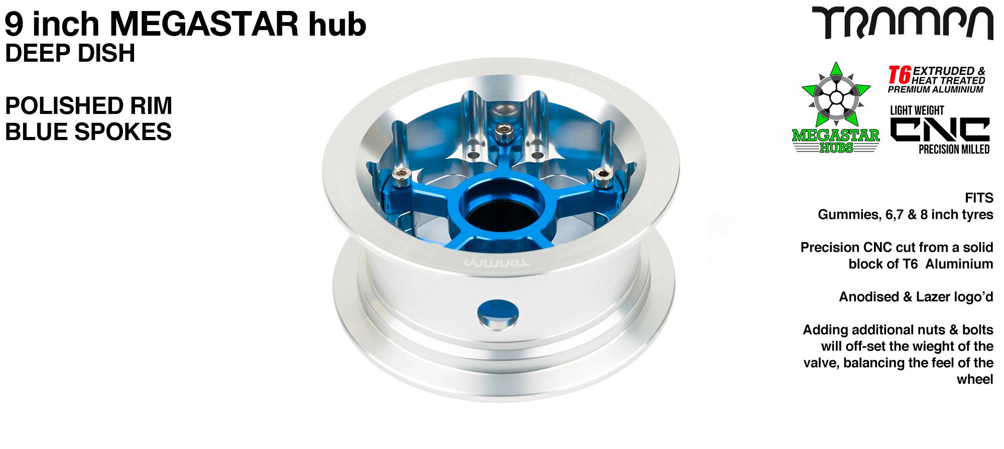 9 Inch DEEP DISH MEGASTAR Hub - SILVER Rim with BLUE Spokes