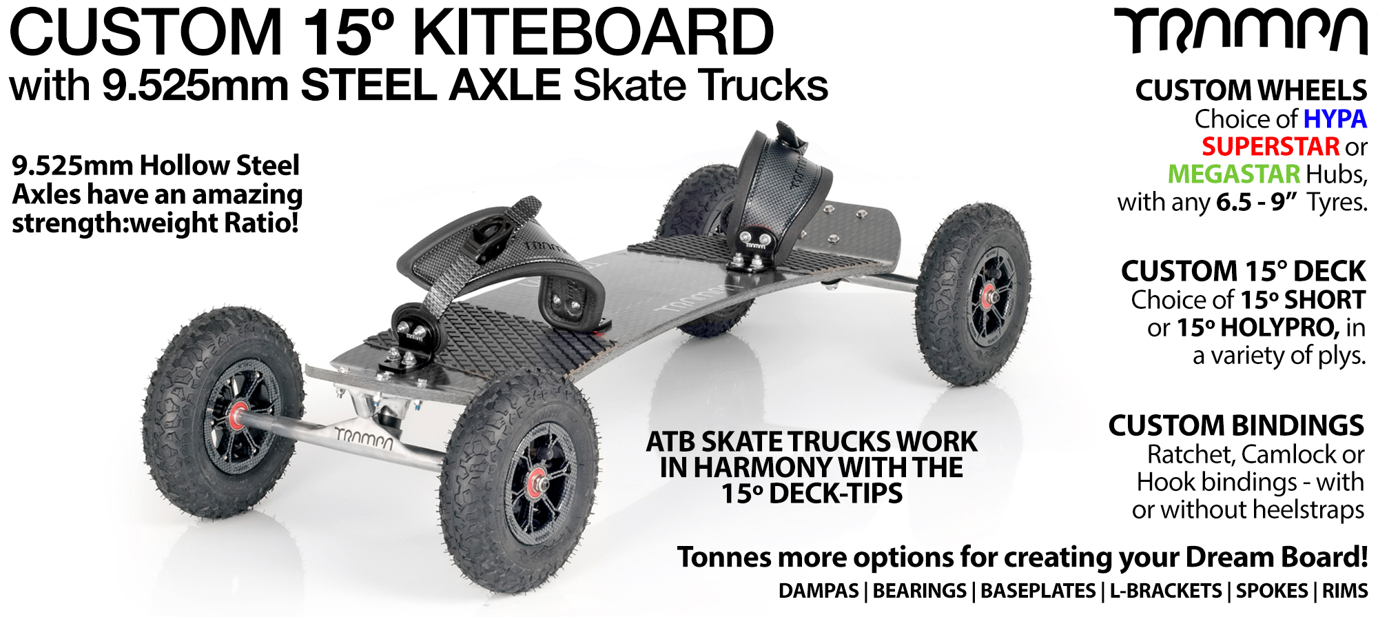 TRAMPA Kiteboard - 9.525mm Axle Skate Trucks