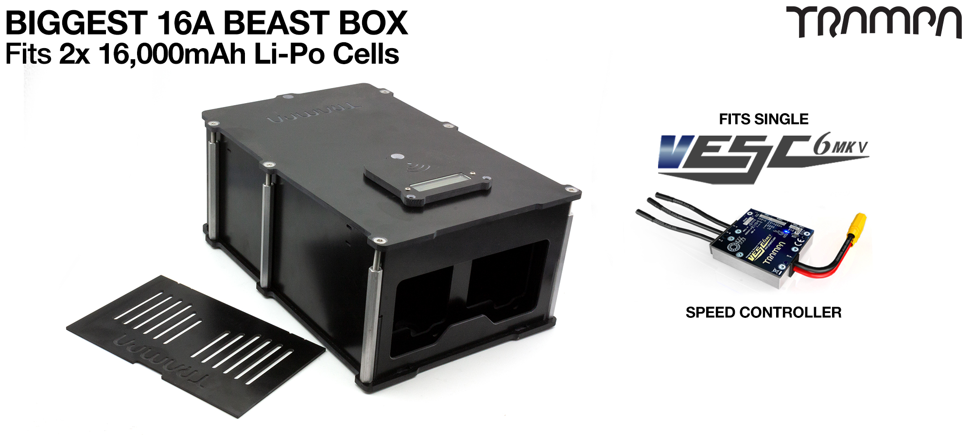 16A BIGGEST BEAST Box fits 2x 6s 16A cells with Internal VESC Housing fitting 1x VESC 6