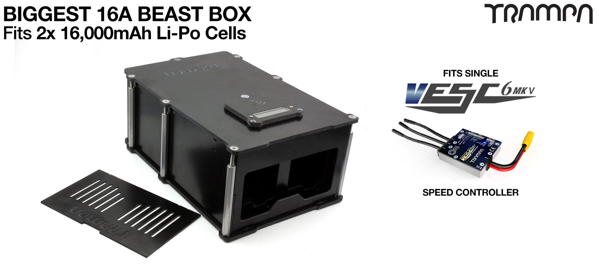 BEAST Box to fit 2x 6s 16000 mAh cells with Internal VESC Housing - Single Motor