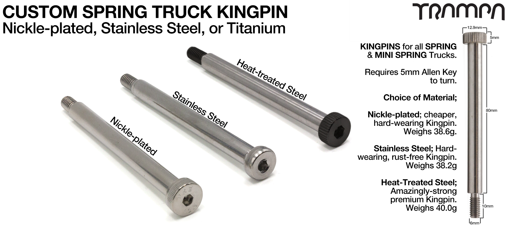 Custom Kingpin for Spring Trucks - M8x80mm Nikle Plated, Stainless Steel or TITANIUM