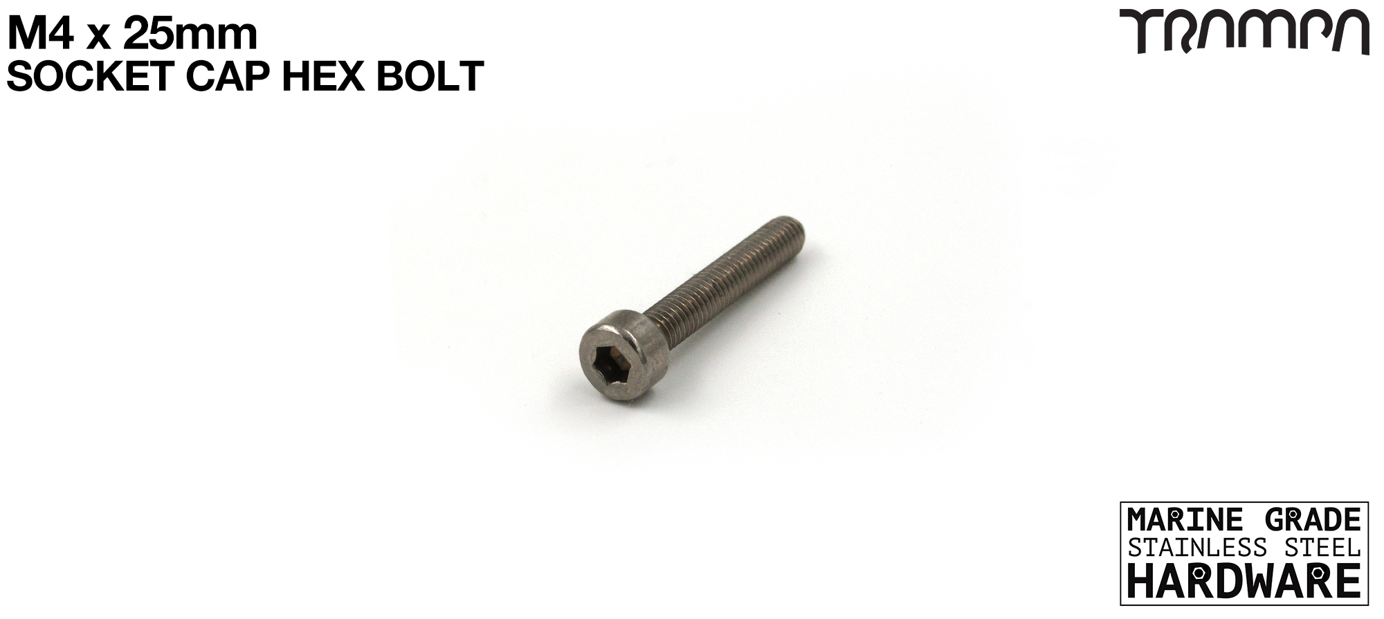 M4 x 25mm Socket Capped Head Bolt ISO 4762 Marine Grade Stainless Steel