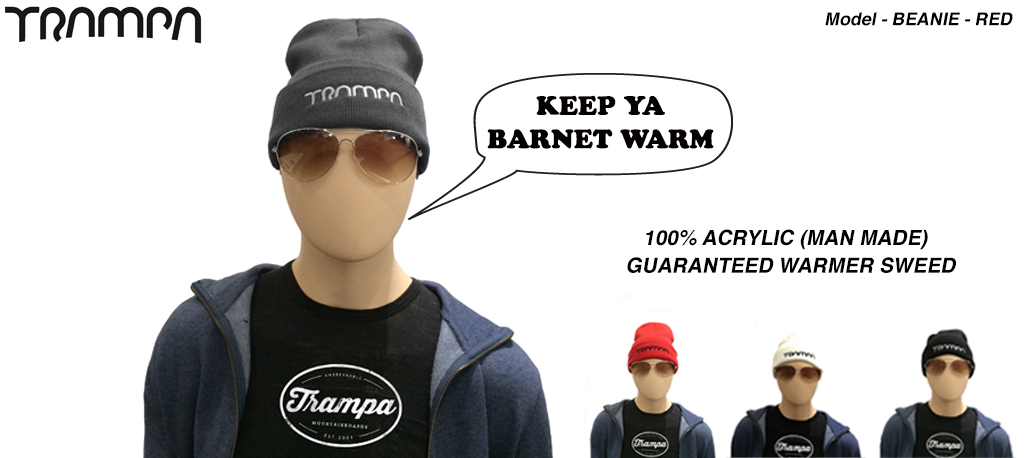 Wooli Hat Turn up - CHARCOAL with WHITE TRAMPA Logo