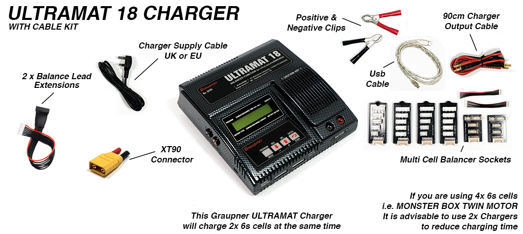 Graupner Ultramat 18 charger - capable of charging 2x 6s Batteries at once with balancing cables - with XT90 Charge plug converter sold with complete Boards