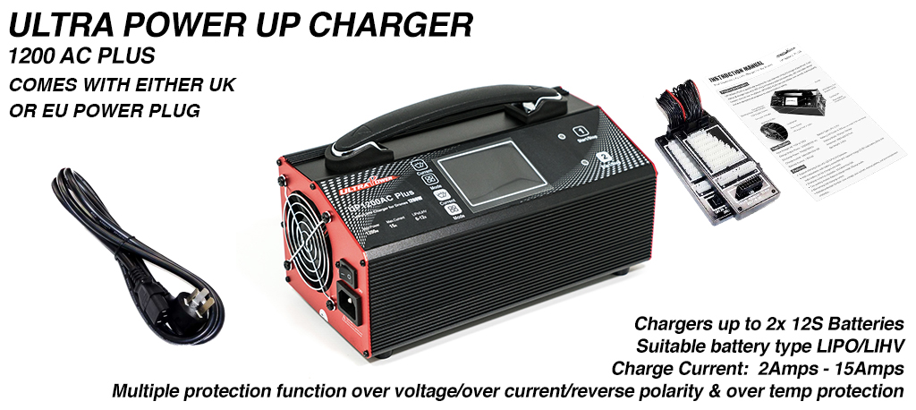 ULTRA POWER Charger 2x 600W, 15A, 12s Charger - UP1200AC PLUS - No extension Leads